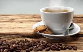 Картинка чашка, кофе, кофейные зерна, печенье, блюдце
