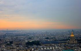 Обои небо, Пейзаж, Панорама, Paris, Париж