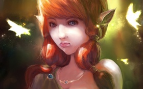 Картинка девушка, бабочки, фэнтези, арт, ушки