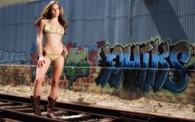 Картинка дорога, девушка, граффити, бикини