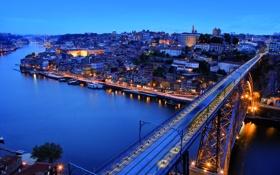 Картинка река, Порту, вечер, пнорама., Portu, улица, city