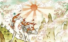 Обои солнце, волк, Сакура, арт, Sakura, art, PS3
