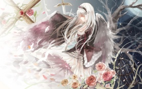Картинка девушка, цветы, ночь, оружие, ветви, луна, розы