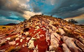 Картинка природа, камни, красная, земля, холм