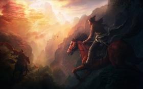 Обои горы, туман, восход, тропа, Ущелье, всадники, дворец