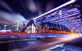 Обои дорога, ночь, мост, город, движение, полоса, скорость
