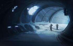 Картинка лучи, свет, снег, ночь, оружие, люди, туннель