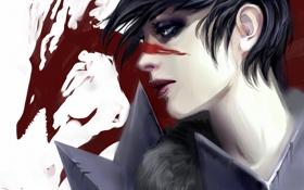 Картинка девушка, красный, дракон, арт, профиль, раскраска, dragon age