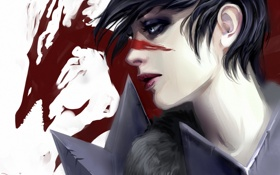 Обои раскраска, хоук, девушка, дракон, профиль, hawke, арт