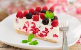 Обои малина, еда, торт, пирожное, cake, крем, десерт