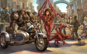 Обои люди, крылья, юмор, арт, мотоцикл, броня, персонажи