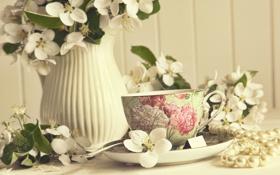 Обои розы, весна, ваза, Spring, vase, roses, чашка чая