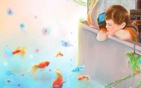 Картинка рыбы, мальчик, арт
