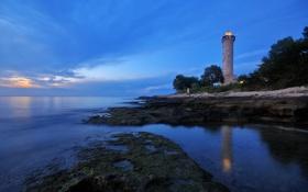 Картинка море, побережье, маяк, вечер, Хорватия, Istarska, Salvore