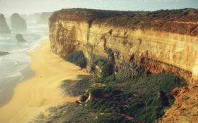 Картинка море, волны, горы, склон, Побережье
