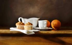 Картинка стол, апельсин, ложка, чашка, посуда, блюдце, салфетка