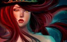 Картинка девушка, игра, арт, пират, охотница, league of legends, красные волосы