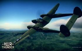 Картинка небо, самолёт, американский, Lockheed P-38 Lightning, WW2, War Thunder, тяжелый истребитель