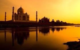 Картинка закат, речка, небо, Тадж-Махал, храм