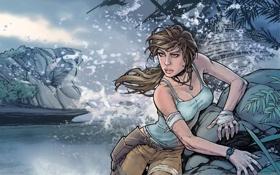 Картинка море, девушка, брызги, рисунок, tomb raider, бинты, 15-year celebration