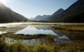 Картинка горы, озеро, рассвет, утро, Аляска, дымка