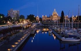 Картинка город, ночь, фонари, яхты