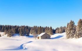 Картинка зима, лес, небо, снег, природа, Франция, домик