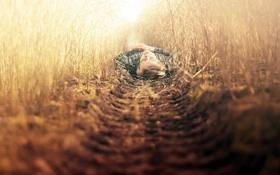 Обои поле, настроение, парень, травы