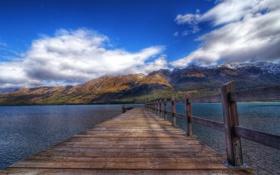 Обои облака, горы, природа, река, фото, доски, забор