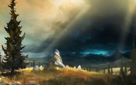 Обои горы, тучи, камни, молнии, арт, ёлки, нарисованный пейзаж