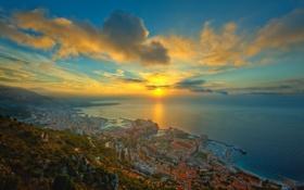 Обои море, закат, город, побережье, Монако