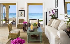 Обои дизайн, коттедж, вилла, жилая комната, дом, интерьер, стиль