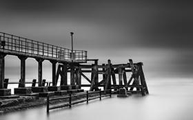 Картинка море, пейзаж, мост, туман