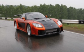 Обои скорость, Mazda, RX7, дорога