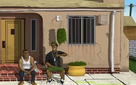 Картинка арт, франклин, GTA V, Franklin and Lamar, ламар