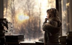 Обои настроение, книги, окно, малчик