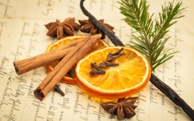 Обои апельсин, палочки, сухой, корица, ваниль, пряности, бадьян