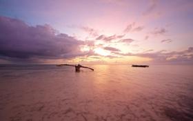 Обои океан, рассвет, берег, лодка, Тайланд