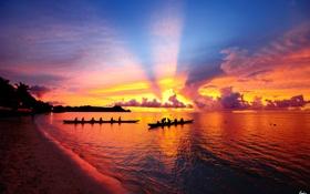 Картинка море, облака, закат, люди, лодки, плавание, байдарка