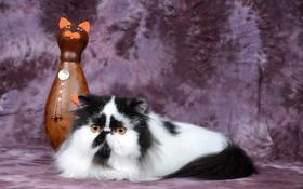 Картинка кошка, фон, статуэтка, пушистая
