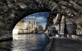 Обои город, Notre Dame de Paris, HDR, Париж, Франция, мост, река
