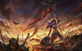 Картинка грусть, девушка, огонь, рассвет, войны, арт, трупы