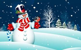 Обои scarf, trees, шарф, новый год, с Рождеством Христовым, snowman, new year