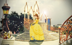 Обои Disney, Белль, мульфильм, Beauty and the Beast, Красавица и Чудовище, Люмьер, Чип