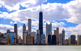 Обои облака, здания, дома, небоскребы, Чикаго, USA, Chicago