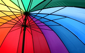 Обои металл, радуга, спектр, зонт, спицы, разноцветные