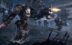 Обои оружие, бой, Warhammer, Black Templars, воины, выстрелы, силовая броня
