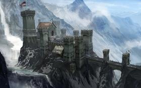 Обои dragon age 3, inquisition, замок, concept art, люди, горы, снег