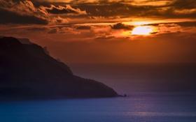Обои закат, природа, скалы, побережье, Mallorca