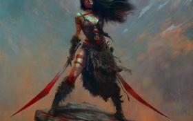 Картинка девушка, кровь, волосы, арт, шкура, клинки